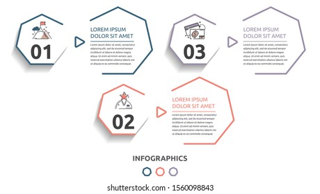 Vector flat infographic template. Line heptagon with text and icons for three diagrams, graph, flowchart, timeline, marketing, presentation. Business concept with 3 options