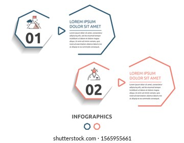 Vector flat infographic template. Line heptagon with text and icons for two diagrams, graph, flowchart, timeline, marketing, presentation. Business concept with 2 options