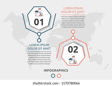 Vector flat infographic template. Line heptagon with text and icons for two diagrams, graph, flowchart