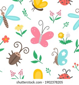 Vector flat insect and first flower seamless pattern. Funny spring garden repeating background. Cute ladybug, butterfly, beetle, dandelion digital paper for kids. Bugs and plants texture