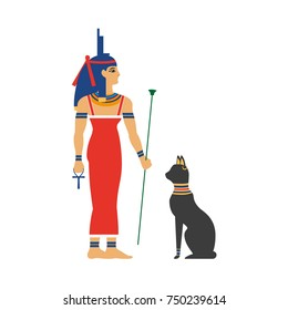 vector flat Isis goddes - ancient egypt god with throne on her hand with black cat animal near her. Mother of all egypt pharaohs. isolated illustration on a white background.