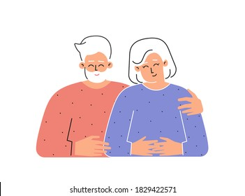 Vector flat isolated concept with cartoon characters of caucasian senior couple. Happy old grandfather hugs grandmother. Romantic relationships and love of attractive persons. White background