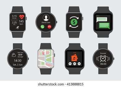 Vector Flat Isolated Smart Watch Black