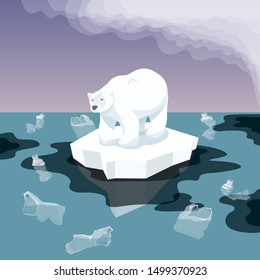 Vector Flat Isometric Environment Pollution And Global Warming Illustration. Melting Iceberg And White Bear With Plastic Garbage In The Water. Conceptual Image Of Melting Glacier With Polar Bear And G