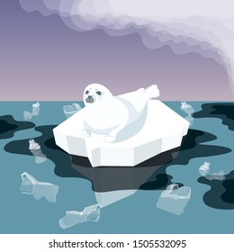 Vector Flat Isometric Environment Pollution And Global Warming Illustration. Melting Iceberg And And Fur Seal With Plastic Garbage, Oil In The Water. Conceptual Image Of Melting Glacier