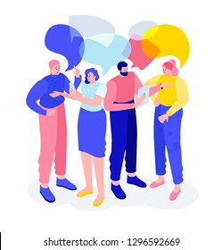 Vector flat isometric illustration. people talk, meet, establish business partnerships. social relations with other people who share similar personal or career interests.
