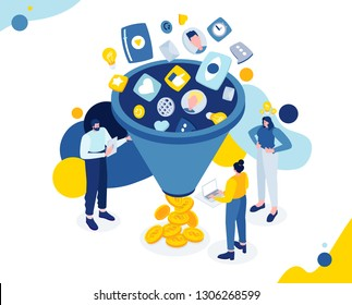 Vector flat isometric illustration. Sales funnel - principle distribution customers by stages sales process from the first contact conclusion transaction. cold contact, interest, persuasion, purchase