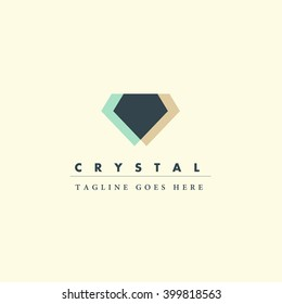 Vector flat jewelry logo isolated on white background. Diamond shop, crystal store brand mark. Accessory store, jewel business insignia. Advertisement design. Poster, placard, card, leaflet.