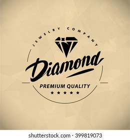 Vector flat jewelry logo isolated on white background. Diamond shop, crystal store brand mark. Accessory store jewel business insignia. Hand written font. Advertisement. Poster placard, card, leaflet.