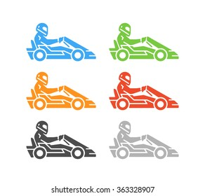 Vector flat karting logo and symbol. Silhouette figures kart racer. Go kart label and badge.
