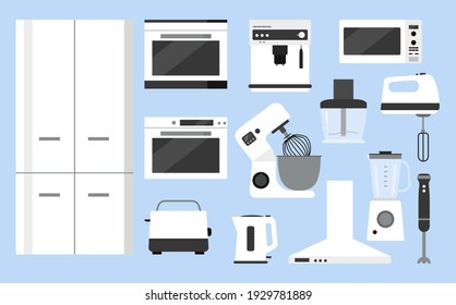 Vector flat kitchen furniture set. Furniture store advertisement. Assemble kitchen yourself. Illustration for the site of a kitchen store. Refrigerator, oven, tiled wall, yellow chairs, dining table