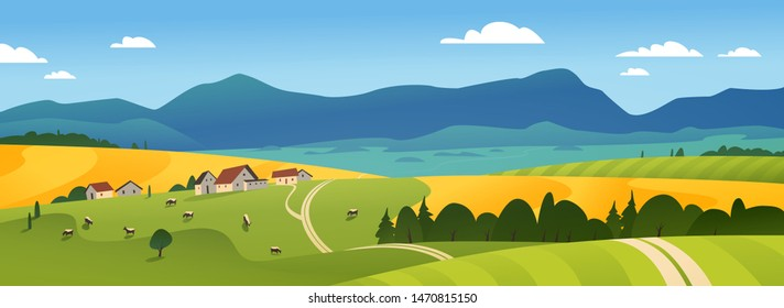 Vector flat landscape illustration of summer countryside nature view: sky, mountains, cozy village houses, cows, fields and meadows. For farm product packaging, sticker design, banner, flyer etc.