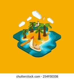 Vector flat landscape isometric concept desert island with a pier and boat, ocean, blue lagoon, paradise piece of land, sultry summer vacation on the beach.. Pictured 3d isometric concept.