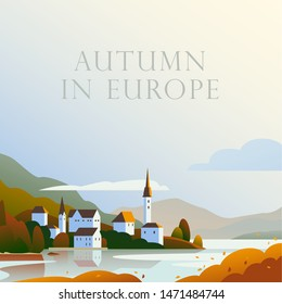 Vector flat landscape minimalistic illustration of wild autumn European cozy town, seacoast, mountain nature view, sky, water. For travel banner, card, vacation touristic advertising, brochure, flyer