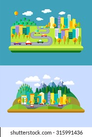 Vector flat landscapes with mountains and forest, hills, road, cars, skyscrapers, balloon