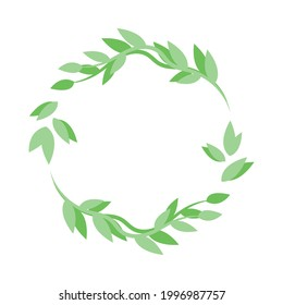 Vector flat leafy ornament, green round frame design template from leaves. Can be used for highlights for social networks. Leaves circular green frame from branches and leaves, simple wreath design.