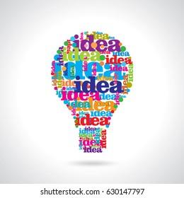 Vector flat light bulb. Modern light bulb icon. Concept ideas, innovations