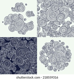 Vector flat line abstract hand drawn circles design zentangle elements and seamless patterns set, dark blue and white | Ornamental and decorative circle clouds drawings and patterns
