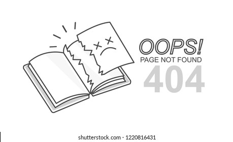 Vector flat line design book with torn page 404 error  in white background. Concept page not found web banner, disconnection, loss of connect. Linear style ragged book icon