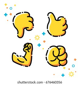 Vector flat line emoji icons set. Hands emoticons. On following themes as the strong arm, the fist, the thumb up, the thumb down.