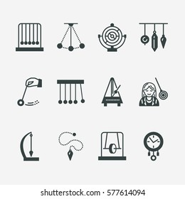 Vector flat line icon of pendulum types. Newton cradle, metronome, table pendulum, perpetuum mobile, gyroscope. Linear pictogram editable stroke for site, brochure of hypnosis, hypnotherapy