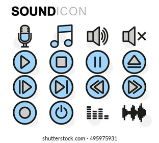 Vector flat line sound icons set on white background