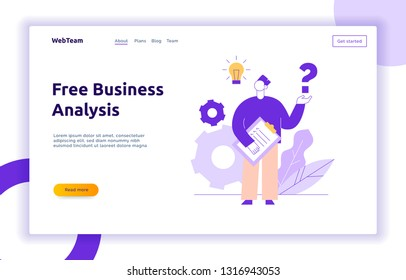 Vector flat line style business teamwork and idea design concept with big modern person, light bulb, question sign. Trendy brainstorming illustration with man, cogs, leaves.