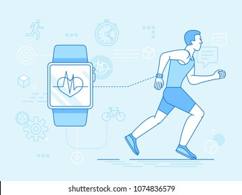 Vector flat linear illustration in blue colors - running man - health app on the mobile phone and smart watch - health monitoring with mobile gadget concept