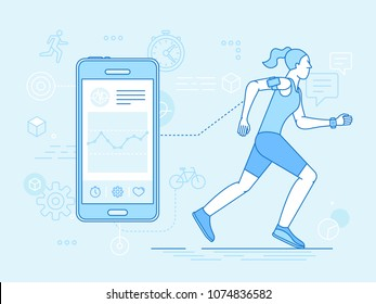 Vector flat linear illustration in blue colors - running woman - health app on the mobile phone and smart watch - health monitoring with mobile gadget concept