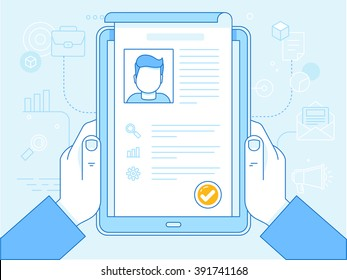 Vector flat linear illustration in blue colors - resume concept on the screen of tablet pc - human resources and applying for vacancy
