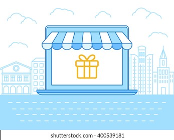 Vector flat linear illustration in blue colors - online shopping concept - laptop with striped awning