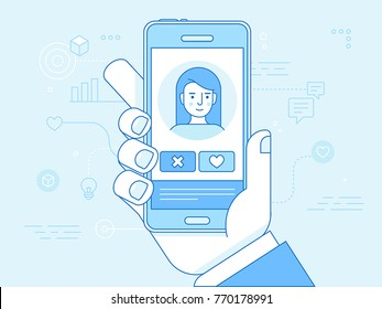 Vector flat linear illustration in blue colors  - online dating app concept - mobile phone with application on the screen - man and woman searching for love and relationship