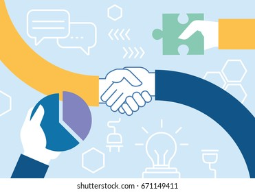 Vector flat linear illustration related of team work, cooperation, collaboration and interaction
