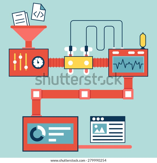 Vector flat linear infographics of creating and optimization website - vector illustration