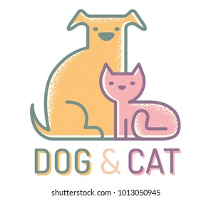 Vector flat logo with cat and dog. Vintage emblem with pets. Cat and dog.