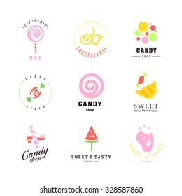 Vector flat logo collection for candy shop and sweet store. Candy bar brand mark design. Also good for children print template. Sweet store logo. Lollipop sign.