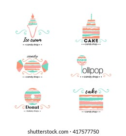 Vector flat logo collection for candy shop,coffee shop, sweet store.  Sweet store logo.  Candy, ice cream, cake, donut, lollipop.