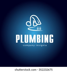 Vector flat logo design for plumbing service company isolated on dark background. Sanitary simple white tap, faucet, sink icon. Business card, leaflet, insignia design.