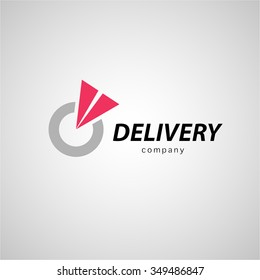 Vector flat logo template for logistics and delivery company isolated on grey background. Shipping service insignia design. Express delivery, fast shipping logo design.
