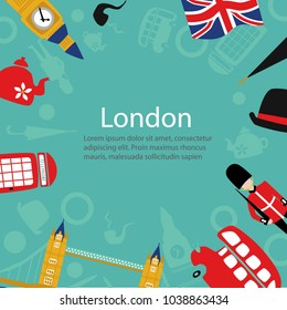 vector flat London, United kingdom, great britain symbols poster template. British flag, royal guardian phone booth, double decker bus, Big Ban Tower of London, gentleman hat, umbrella, smoking pipe