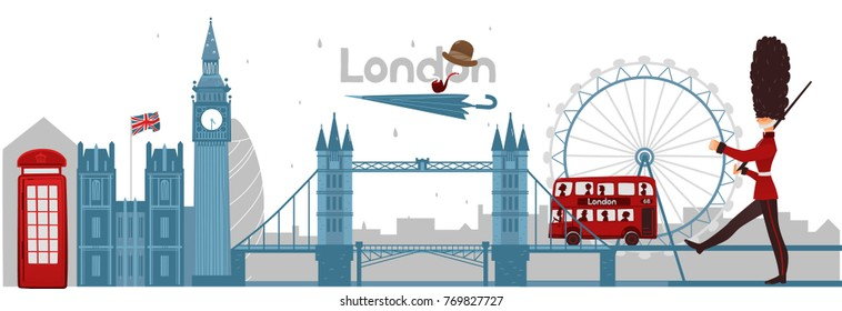 vector flat London, United kingdom, great britain symbols concept set. Marching beefeater, british phone booth, Tower Bridge and Big Ban Tower of London, gentleman hat, umbrella, smoking pipe icon.
