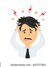 Vector flat man businessman with a headache,compassion fatigue,disease of the head, office worker holding head.migraine,health problems,pain head,stress work,tired,suffer,emotion,headach,frustrated