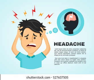 Vector flat man with a headache, compassion fatigue, a with a disease of the head, an office worker holding his head with his hands and feels anguish. migraine, health problems and pain head stress