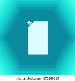 Vector flat mayonnaise plastic package icon on hexagonal background