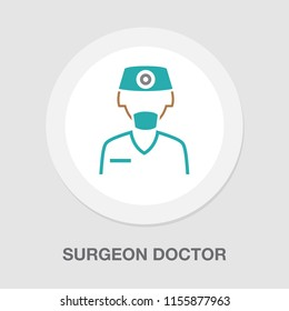 Vector flat medical icon or logo with male doctor surgeon