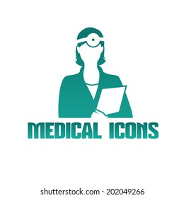 Vector flat medical icon or logo with female doctor otolaryngologist