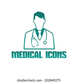 Vector flat medical icon or logo with male doctor therapist