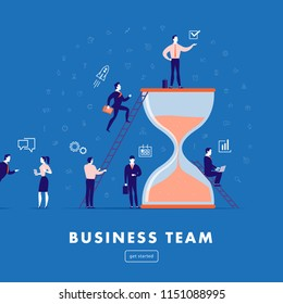Vector flat minimalistic illustration - business team work, project management, business communication, workflow. Business icons, office people - team success. Web banner, mobile app, webpage concept.