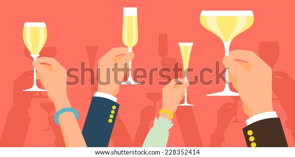 Vector flat modern concept illustration on celebration and party featuring multiple raised hands holding different champagne glasses, cheering | Simple corporate celebration event background