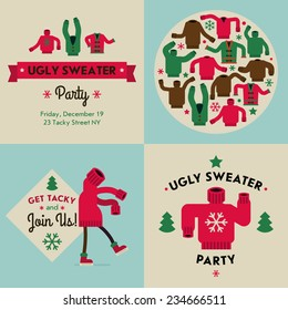 Vector flat modern creative concept design on christmas ugly sweater party | Tacky sweater party invitation design elements